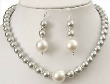 Prety 8-12MM Grey Sea Shell Pearl Round Beads Necklace + Earring Set AAA V69