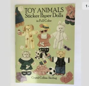 Vtg 1988 Toy Animals Sticker Paper Dolls Full Color Crystal Collins-Sterling NEW