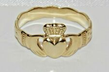 9ct Yellow Gold on Silver Claddagh Ring - All Sizes Available