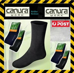 4 PAIR CANURA Men's Black Or Blue BAMBOO SOCKS NO SMELL PERFECT FOR SAFETY BOOTS