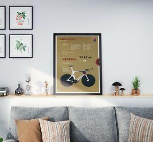 Bradley Wiggins - Hour record Pinarello Bike cycling A3, A2, A1 Posters Prints