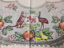 Vintage Retro Floral Kitchen Tablecloth , Australian Animals Tasmania Souvenir