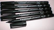 5 x STAEDTLER Folienstift Lumocolor F permanent 318-9 schwarz OHP Pen Marker NEU
