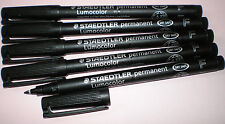 5 x Staedtler diapositivas lápiz lumocolor f permanent 318-9 negro OHP pen marker nuevo