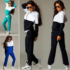 Damen Farbblock Kapuze Hausanzug Trainingsanzug Jogging Sportanzug Hoodie + Hose