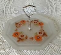 """Vintage Floral  Frosted Glass Tidbit Tray/Plate Octagon With Handle 9 1/2"""""""
