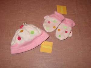 NWT Gymboree Sweets for the Sweet Pink Dots Hat & Mittens Set 12-18 or 18-24 M