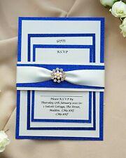 Lizzy deep blue glitter and rose gold diamante trim wedding invitation set suit