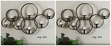 """TWO NEW LARGE 65"""" BLACK FORGED METAL DECORATIVE WALL SCONCE CANDLE HOLDERS"""