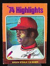 1975 Topps #2 Lou Brock *Exmt* '74 Highlights St. Louis Cardinals (1118)