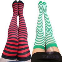Women's RAINBOW Stripe Over Knee Thigh High Stocking Socks hot sale
