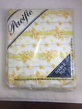 Pacific Vintage Muslin Full Double Size Yellow Rambling Rose No-Iron FLAT sheet