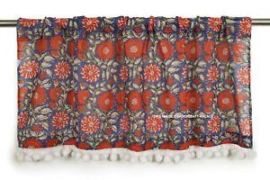 Hand Block Print Cotton Fabric Kitchen Window Vintage Blue/Red Cafe Curtain
