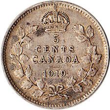 1919 Canada 5 Cents Silver Coin George V KM#22