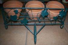 Green Wrought Iron Ivy Flower Planter Cart 3 Clean Terracotta Pots 4x4-Italy Euc
