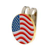 US Flag Metal Golf Ball Marker Magnetic Hat Clip Golf Accessories