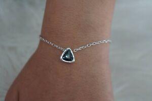 "NWT Uno De 50 Silver Delicate Chain Grey Crystal STAR TRICK Bracelet 6.5-7.5"""