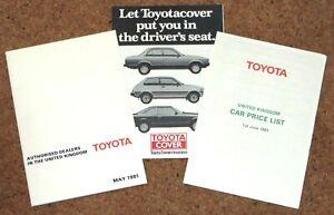 1981 TOYOTA PRICE LIST & UK DEALERS inc Celica Corolla Crown Cressida Starlet