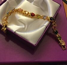 "GB Multicoloured gems 18k gold filled bracelet 7"" / 18cm x 7mm BOXED Plum UK"