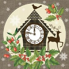 20 servilletas serviettentechnik Christmas Clock Paw 33x33