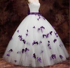 White&Purple Butterflies Princess Ball Gown Wedding Dress Bridal Gown Custom Sz