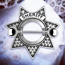 Sheriff Silver Nipple Shields Novelty Star Nipple Bars Nipple Rings Piercing Bar