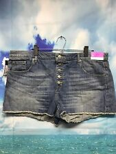 "Mossimo High Rise Shorts Button Fly Denim Jean Cut Off 18 Light Wash 2.5"" TT"