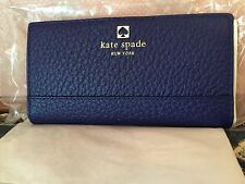 NWT KATE SPADE STACY SOUTHPORT AVE. PEBBLED LEATHER Wallet-Clutch HOLIDAY BLU