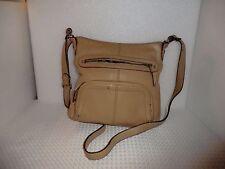 Tignanello Beige Leather Crossbody Shoulder Messenger Bag Purse