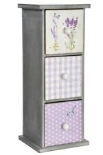 Armoire de rangement en bois 3 tiroirs décor lavande