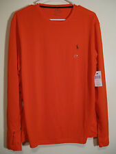 POLO Ralph Lauren Mens Long Sleeve Athletic Shirt NWT M Orange 100% Polyester