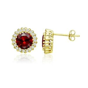 Round Halo Simulated Garnet & CZ Stud Earrings in Gold Plated Sterling Silver