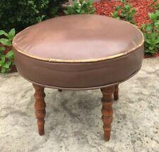 Vintage MCM Adjustable Round Footstool Ottoman Hassock Brown Naugahyde Vinyl