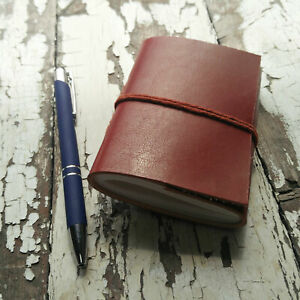 Leather Bound Pocket Notebook, 30 Unlined Recycled Paper Pages Journal Diary