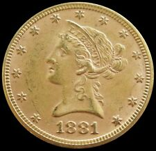 1881 GOLD UNITED STATES $10 DOLLAR LIBERTY HEAD EAGLE COIN PHILADELPHIA MINT