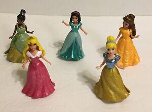 Lot of 5 Disney Princess Magic Clip Polly Pocket Dolls Mattel Magiclip