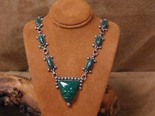 Sterling Silver and Green Onyx Mask Necklace
