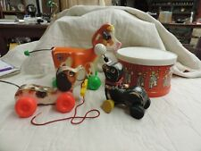 Vintage Lot 4 Fisher Price Wood Pull Toys Seal Dog Cow and Drum Set