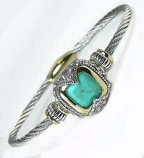 Designer Cubic Zirconia Turquoise Silver Gold Cable Magnetic Cuff Bracelet
