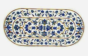 24 x 60 Inches Oval Marble Coffee Table with Lapis Lazuli Stone Art Patio Table