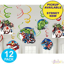 AVENGERS EPIC PARTY SUPPLIES 12 HANGING SWIRL DECORATIONS SUPERHERO BIRTHDAY