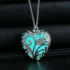 Glow In The Dark Glowing Blue Tree Silver Heart Charm Pendant Necklace Girl Gift