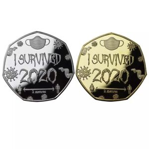 2PCS/ SET I SURVIVED 2020 MEDAL COIN COMMEMORATIVE COLLECTORS MEMENTO GIFT CASE