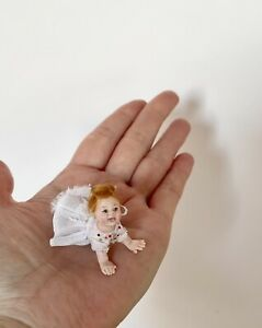 OOAK 12th Dollhouse Polymer clay Miniature Crawling Baby Girl, by_lana.