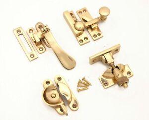 Polished Brass Victorian Style Solid Window Fasteners lock Sash Window Fittings