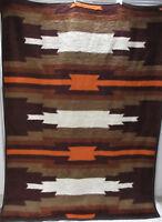 Vintage Biederlack West Germany Reversible Blanket Aztec Southwest 77x57 Brown
