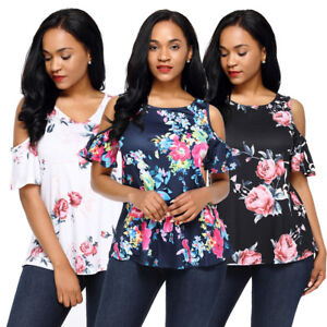 Fashion Womens Short Sleeve Cold Shoulder Floral Print Blouse Casual Summer Tops