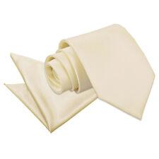 DQT Satin Plain Solid Champagne Mens Classic Tie & Hanky Wedding Set