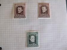 lot de 3 timbres autriche 1947 Schubert et Grillparzer