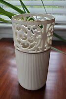 "Lenox China Porcelain Pierced Vase with Gold Trim 8"""
